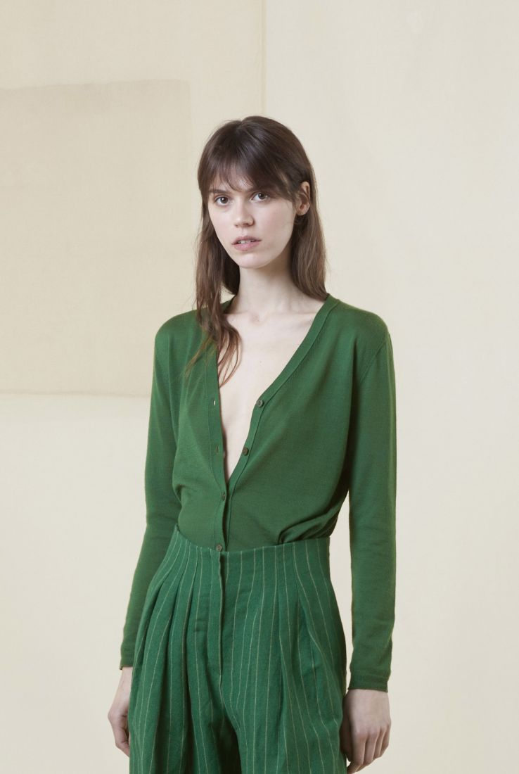 CRISTAL GREEN CASHMERE CARDIGAN, AW20 collection – Cortana Moda