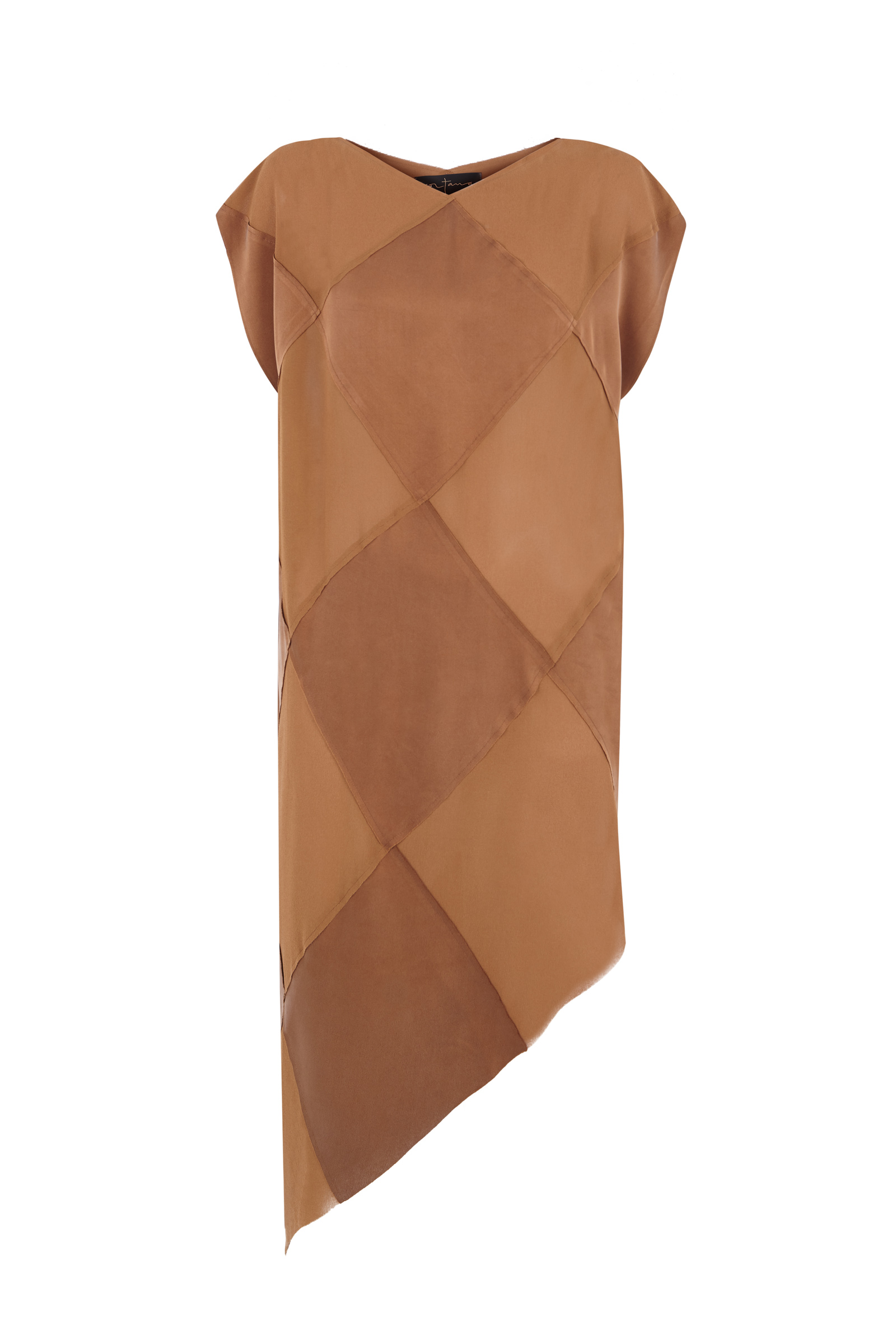 DIAMOND COPPER SILK DRESS - Cortana Moda