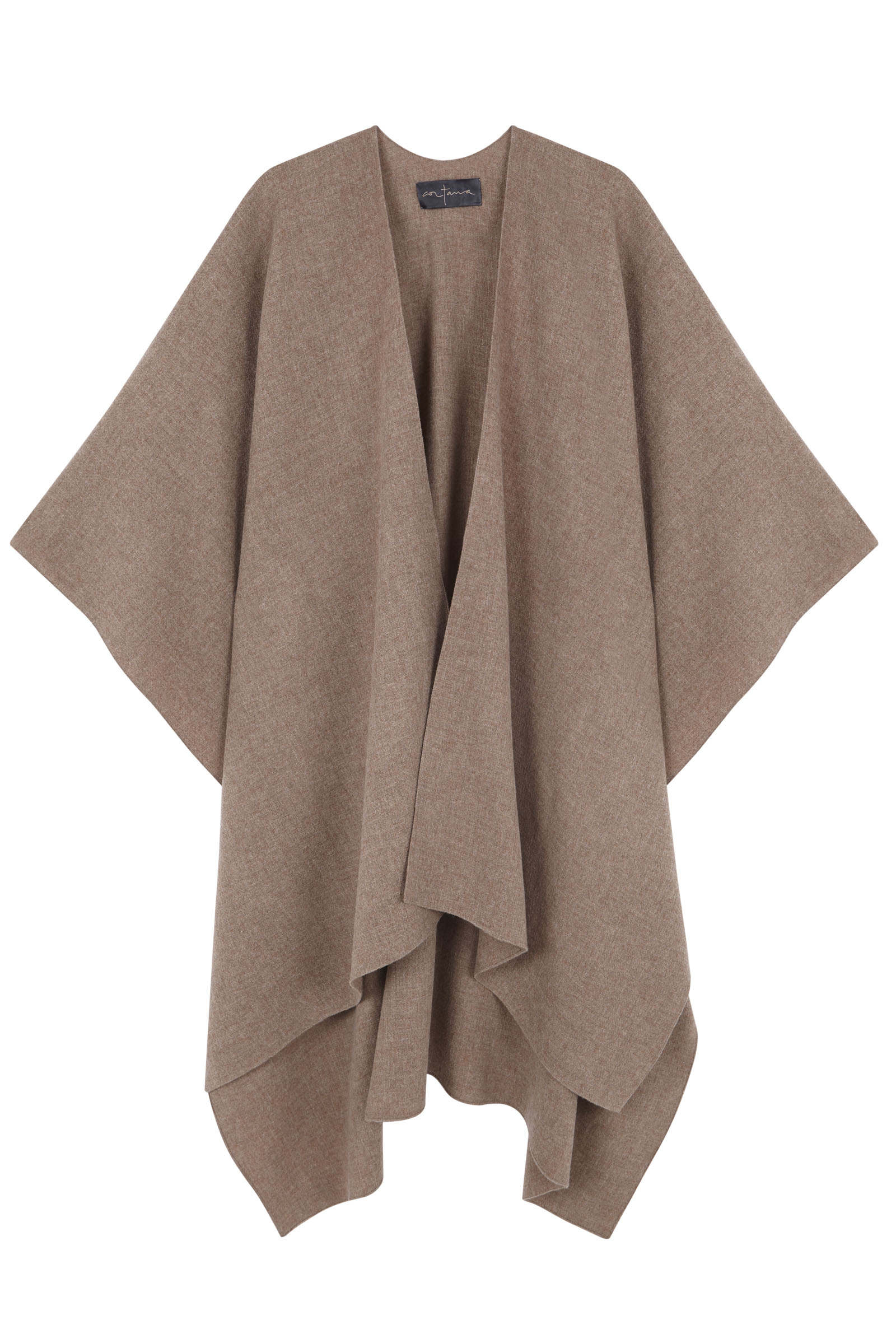PONCHO, IN CAPPUCCINO VIRGIN WOOL - Cortana Moda
