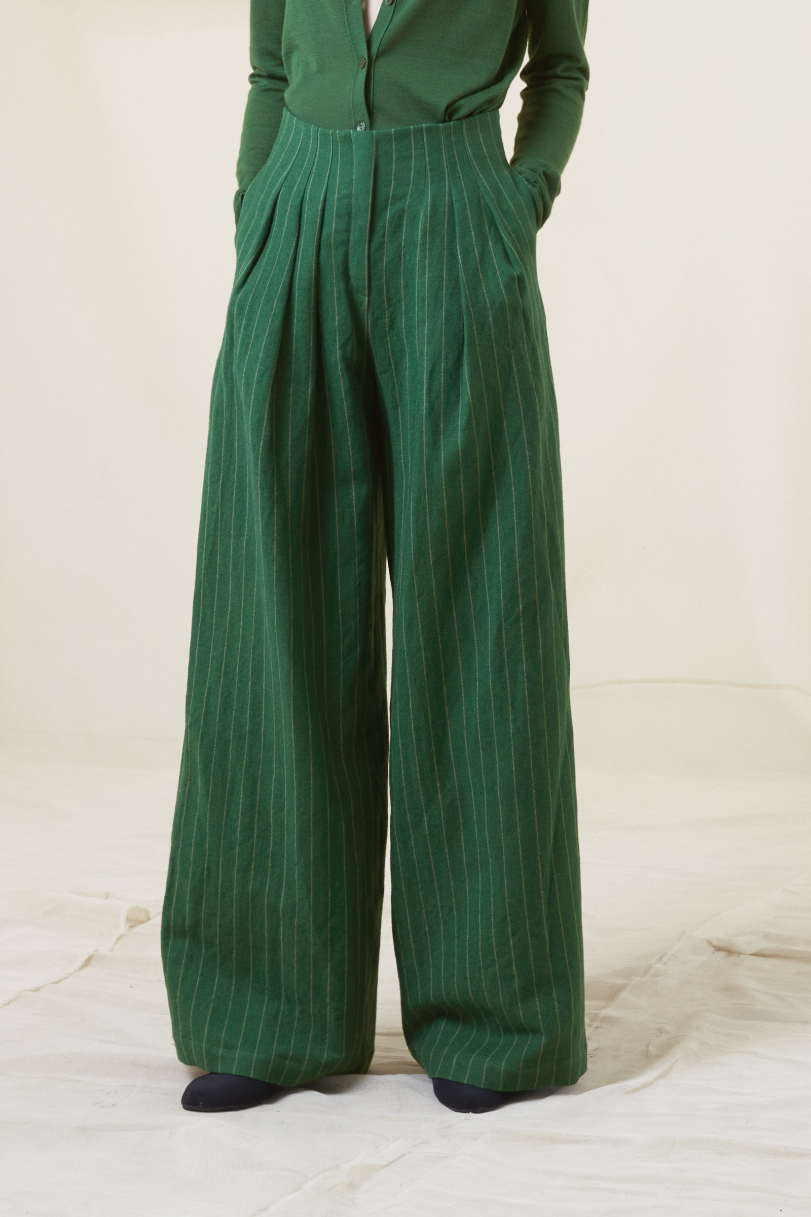 PRADERA, WOOL AND LINEN JACQUARD PANTS - Cortana