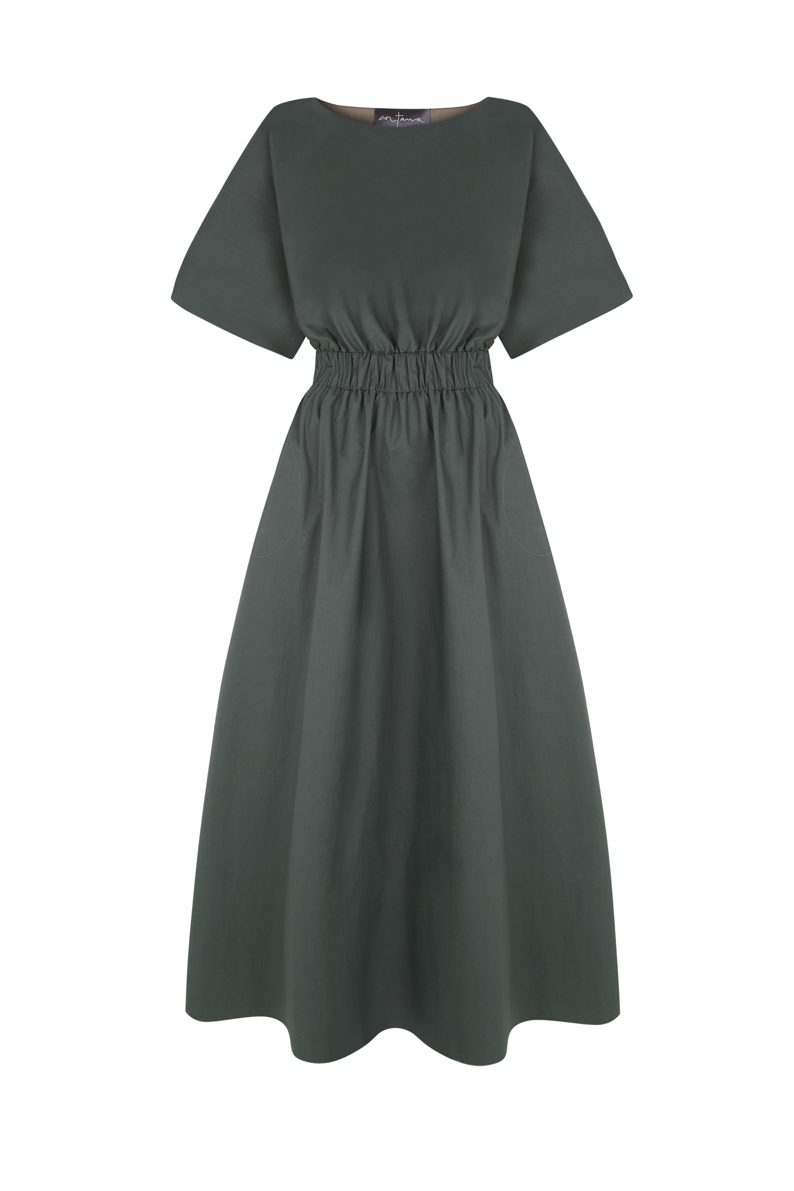 VICTORIA, GREEN COTTON DRESS - Cortana Moda