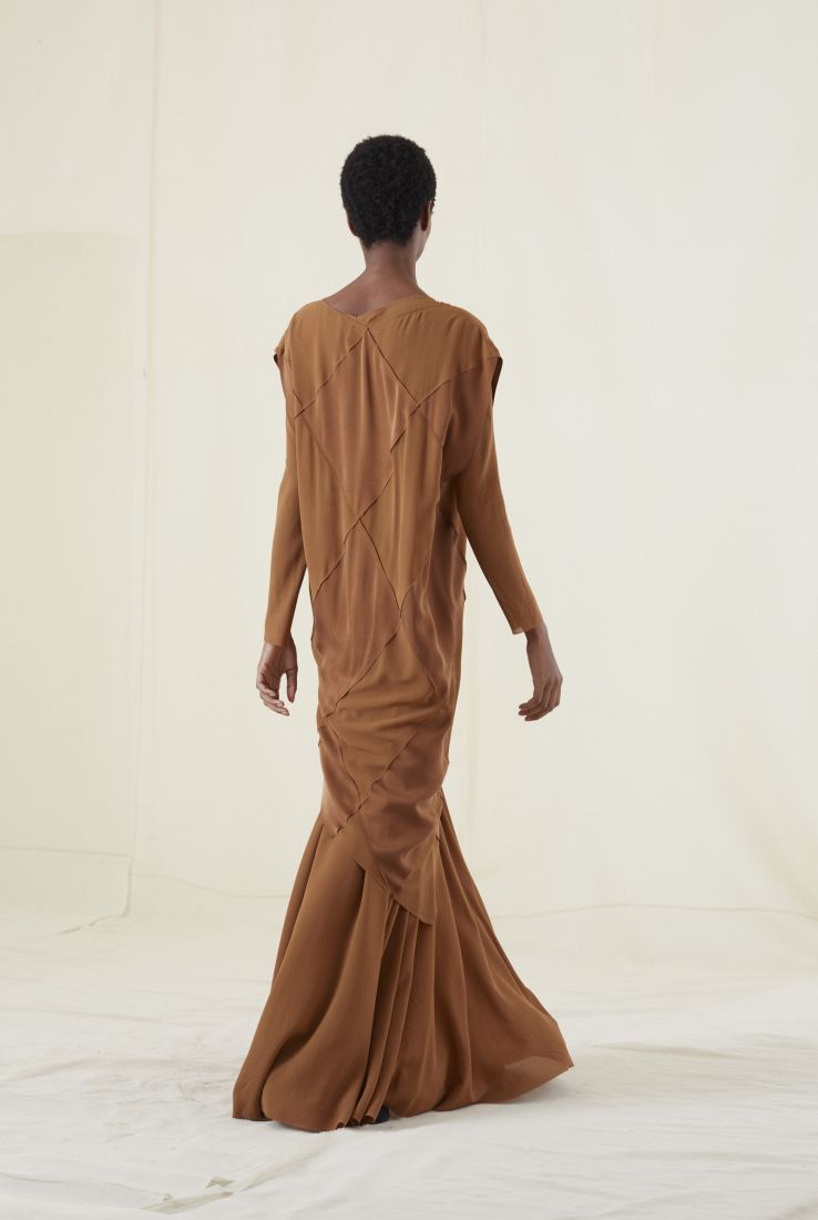 DIAMOND COPPER SILK DRESS, AW20 collection – Cortana Moda