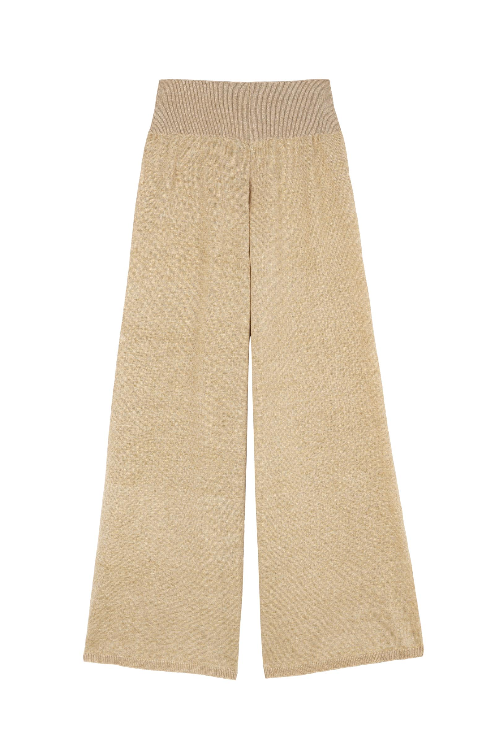 MARINA, GOLD LINEN-KNIT PANTS - Cortana Moda