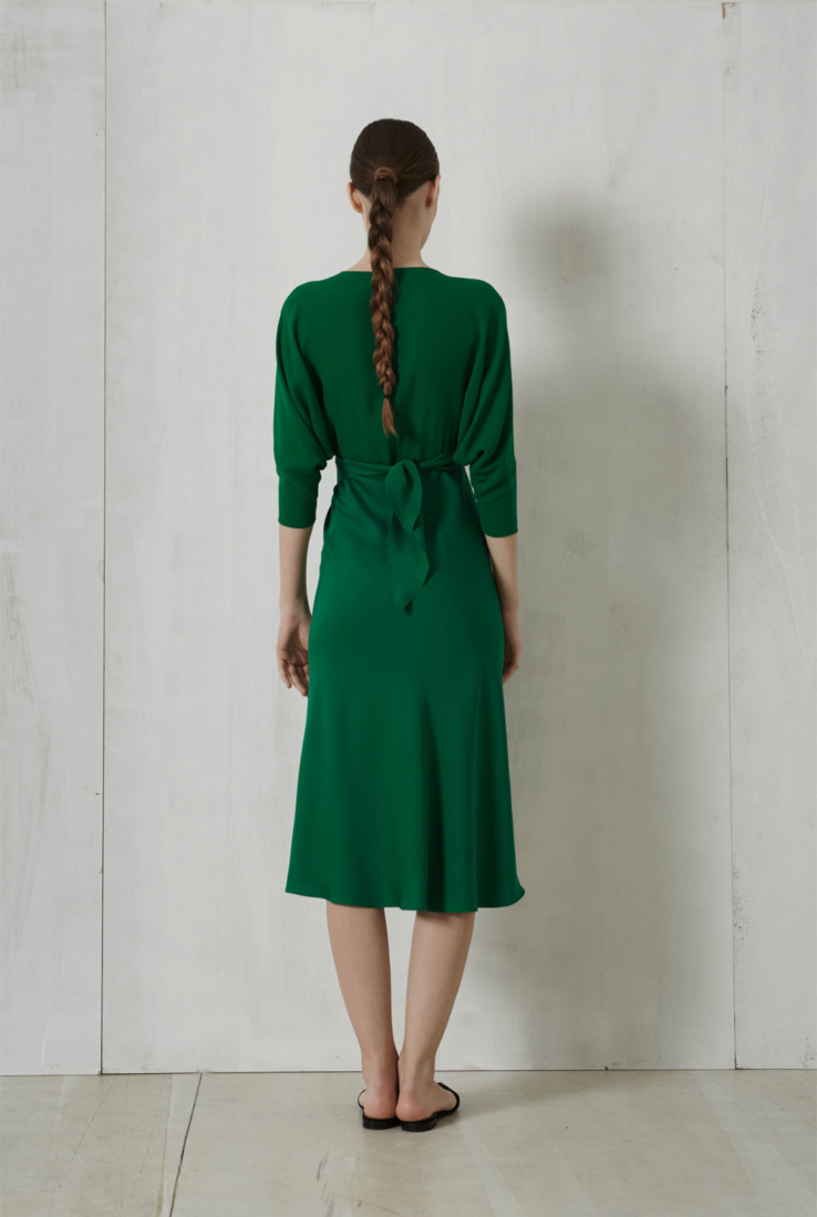 Leave, vestido envolvente en seda verde, Rebajas collection – Cortana Moda