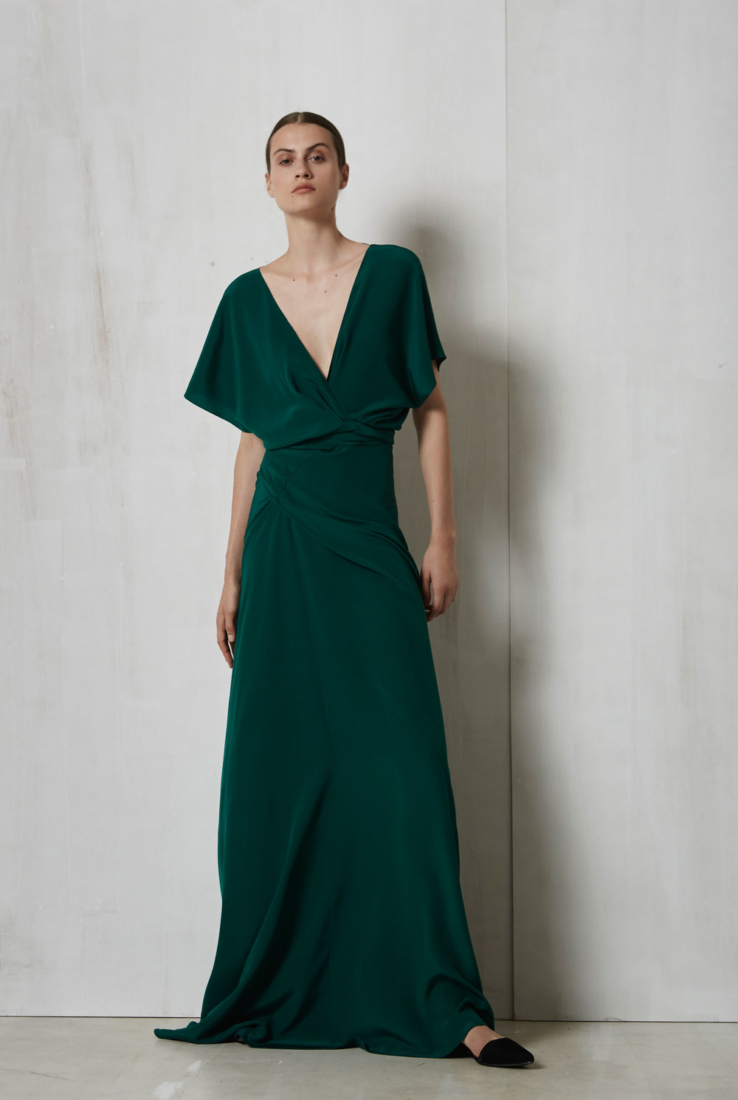 Maria, vestido largo de fiesta verde, SS 17 collection – Cortana Moda