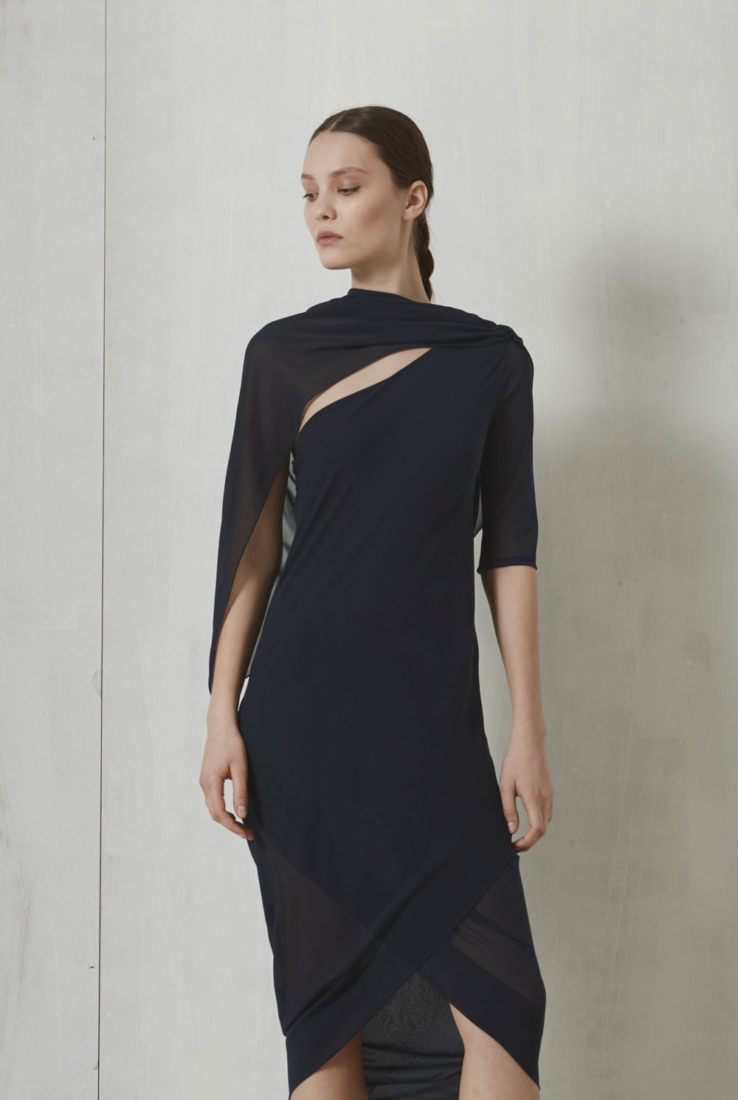 Vestido Notte en seda azul, SS 17 collection – Cortana Moda