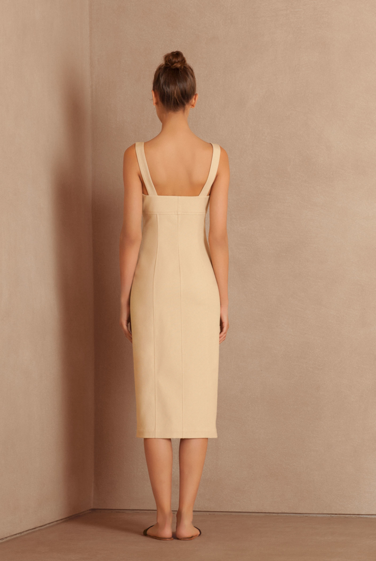 Koa, vestido entallado beige, Rebajas collection – Cortana Moda
