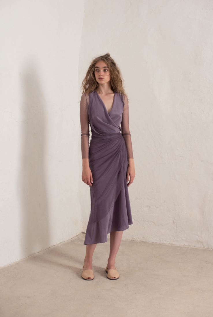 VESTIDO LUXOR EN SEDA COLOR LAVANDA, SS19 collection – Cortana Moda
