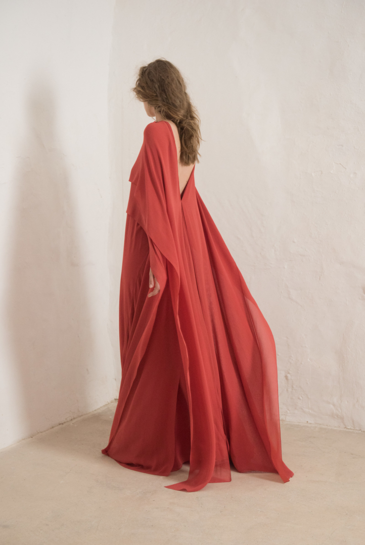 ALYSA VESTIDO EN SEDA COLOR FRESA, SS19 collection – Cortana Moda