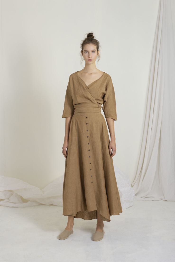 SACCO TOP CRUZADO EN LINO, brown collection – Cortana Moda
