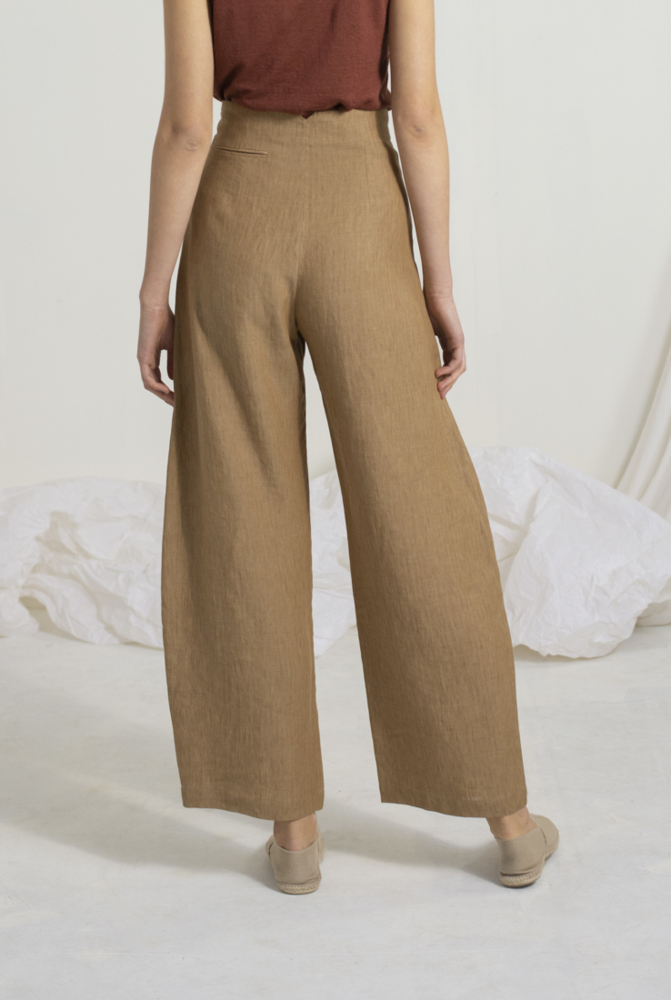SACCO PANTALÓN EN LINO, brown collection – Cortana Moda