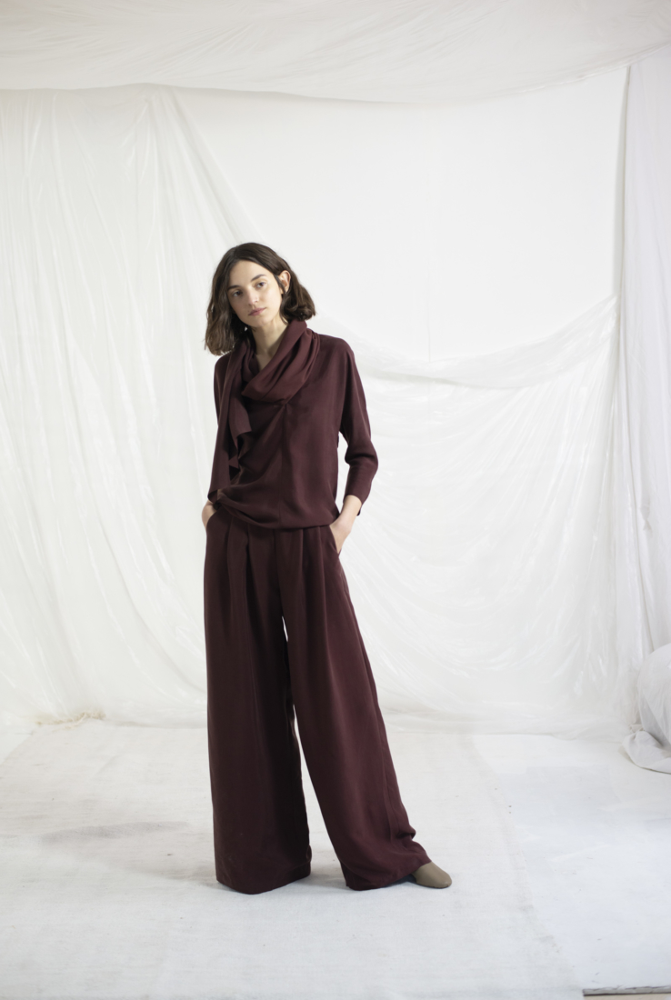 HOPE, PANTALÓN PALAZZO GRANATE, AW19 collection – Cortana Moda