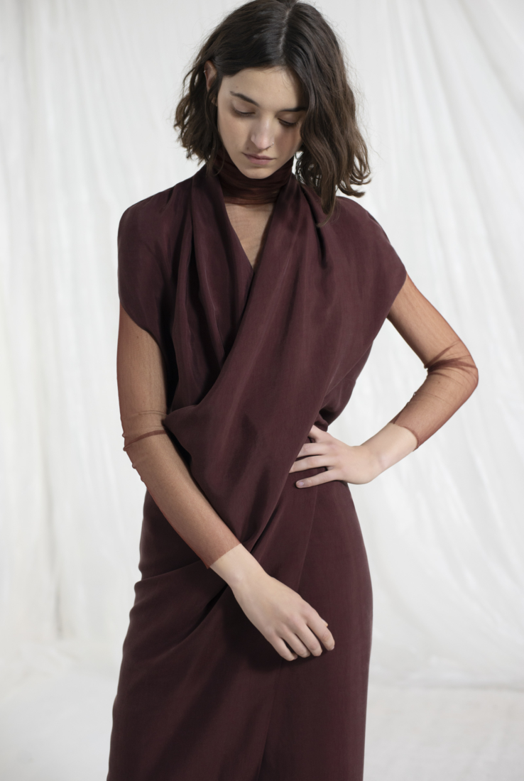 HOPE, VESTIDO DE CUPRO GRANATE, ESHOP collection – Cortana Moda