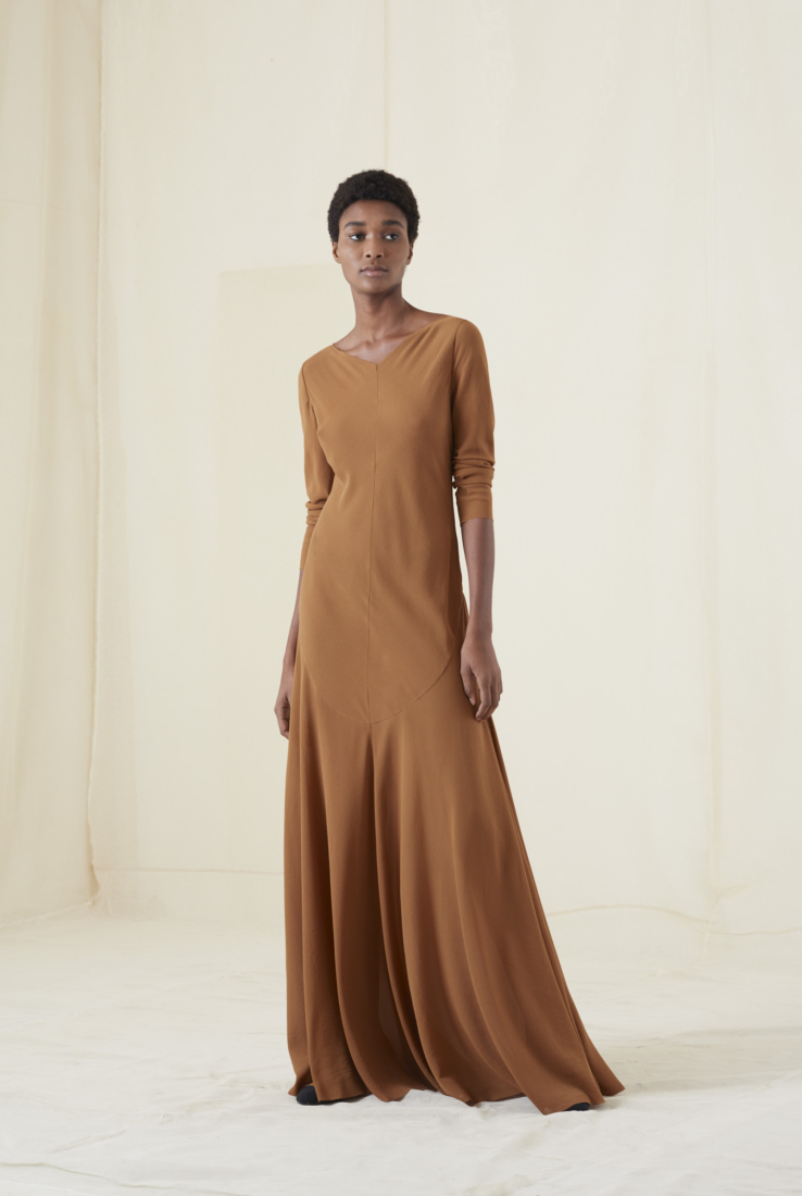 CLARA VESTIDO LARGO EN SEDA COBRE, AW20 collection – Cortana Moda