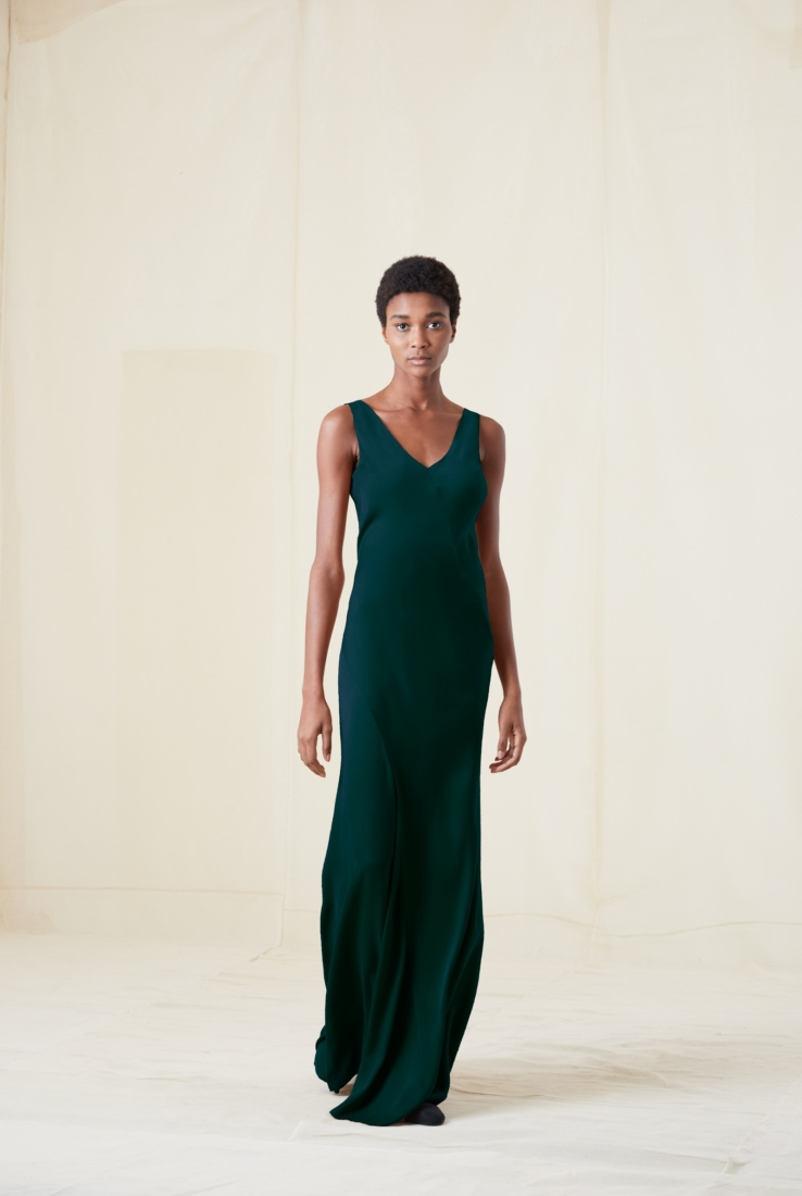 DONNA, VESTIDO EN SEDA VERDE, AW20 collection – Cortana Moda