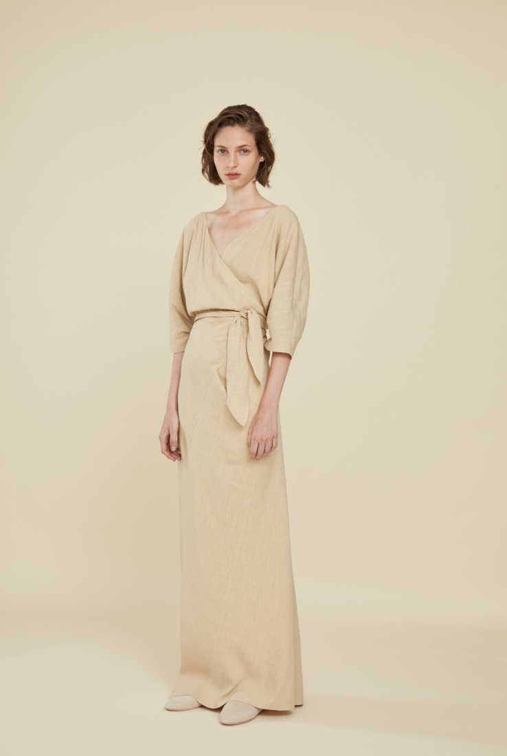 SEBASTIAN, VESTIDO BEIGE, SS21 collection – Cortana Moda