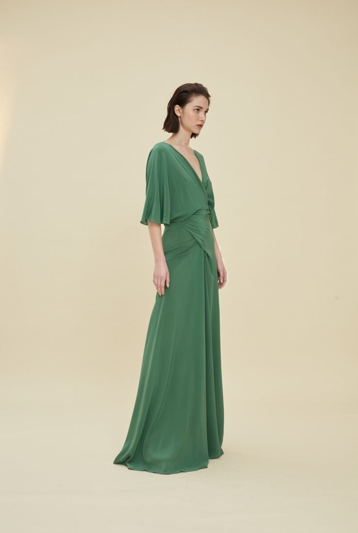 MARTINA, VESTIDO EN SEDA VERDE, ESHOP collection – Cortana Moda